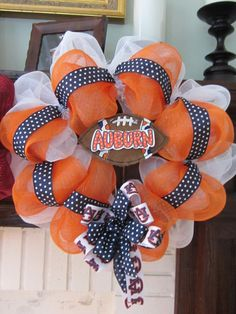 I like the two color mesh ribbons with the black and white ribbon over it, not the football decorations. Wreath Crafts, Fun Crafts, Auburn Wreath, Alabama Wreaths, Sports Wreaths, Football Wreath, Black And White Ribbon, Teacher Valentine, Auburn University