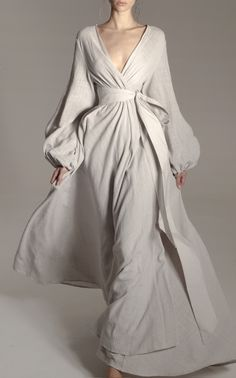 This **Kalita** Gaia Beach Wrap Gown features a free flowing beach robe with balloon sleeves and elasticated cuff. Modest Fashion, Hijab Fashion, Fashion Dresses, Simple Dresses, Pretty Dresses, Natural Fiber Clothing, Colorful Fashion, Dress To Impress, Ball Gowns