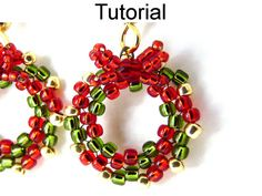 "Deck the Halls Earrings Beading Downloadable Beading Tutorial #10528  With over 30 high resolution full color photos and easy to follow step-by-step directions, this simple beading tutorial will teach you how to make these beautiful ""Deck the Halls"" earrings! The wreaths measure approximately 5/8"" wide. These earrings are perfect for the holiday season! Bead Happy! Tutorial by: Cara Landry  Recommended Materials: - 4 or 6lb FireLine beading thread - #12 long beading needle - 11/0 seed beads…"