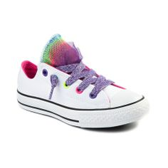 Shop for Youth Converse All Star Lo Party Athletic Shoe in White at Journeys Kidz. Shop today for the hottest brands in mens shoes and womens shoes at JourneysKidz.com.Its a color party! Converse All Star Party Hi featuring a canvas upper with multicolored mesh tongue poof, rainbow eyelets, purple glitter lace closure and rubber outsole. Available exclusively at Journeys Kidz!