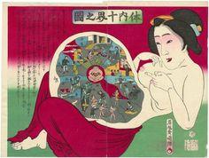 The Ten Worlds inside the Body (Tainai jikkai no zu)  「体内十界之図」  Japanese, Meiji era, 1886 (Meiji 18), 10th month  Artist Toyohara Kuniteru III, Japanese, active about 1880–1900, Woodblock print (nishiki-e); ink and color on paper, MFA
