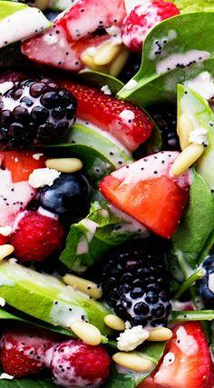 Berry Avocado Salad with Creamy Raspberry Poppyseed Dressing