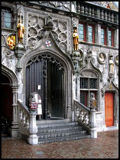 Basilica of the Holy Blood, Bruges, Belgium. Dates from 1256 Beautiful Architecture, Art And Architecture, Architecture Details, Luxembourg, Oh Paris, Cool Doors, Barcelona Travel, Chicago Restaurants, Antwerp