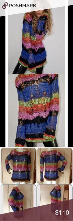 """Rat&Boa"" Knitted Textured Cozy Sweater This colorful textured knit sweater has lots of attitude.Slouchy fit, super stretchy knit. Model and mannequin wearing small. Laying flat and relaxed, the small measures 18"" underarm-underarm. 24"" top of shoulder-bottom. Medium measures19"" underarm-underarm, 26"" top of shoulder-bottom. Large measures 20"" underarm-underarm, 27"" top of shoulder-bottom. Sleeve measures 18 1/2"" underarm-end for all sizes. Shown on mannequin with a black cami underneath…"
