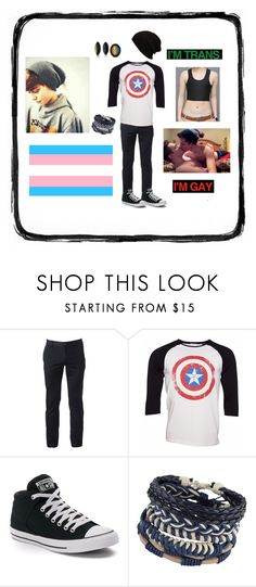 """FtM transgender"" by voldy-moldy ❤ liked on Polyvore featuring Urban Pipeline, Marvel Comics, Converse, ALDO, men's fashion and menswear"