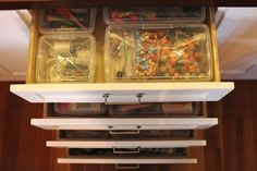 Organized craft drawers with storage details Organizing Drawers, I Heart Organizing, Household Organization, Craft Organization, Craft Storage, Storage Ideas, Kitchen Shelving Units, Craft Cabinet, Container Store