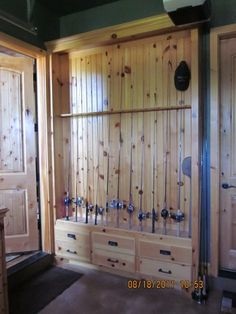 fishing pole rack( knotty pine)
