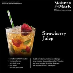 Strawberry Mint Julep - A delectable new take on a beloved classic! Sweet with just the right touch of tanginess, this Maker's-based recipe gets any occasion up and running. #MakeItDelicious