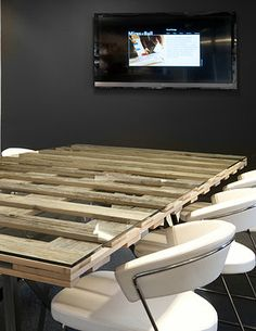 Cool conference table - reclaimed wood pallets ...