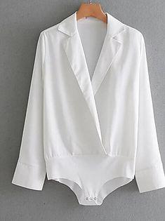 Shop Surplice V Neck Blouse Bodysuit online. SheIn offers Surplice V Neck Blouse Bodysuit & more to fit your fashionable needs. Bodysuit Blouse, Backless Bodysuit, Blouse Col V, V Neck Blouse, Black And White Romper, Pullover Shirt, Jumpsuits For Women, Playsuit, Woman Shirt