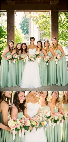 These peach and green wedding bouquets by @melissatimm are perfect up against the mint colored bridesmaids dresses!