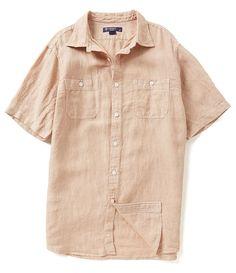 NEW Cremieux Laundered Linen Short Sleeve Shirt - Size L Tan #Cremieux…
