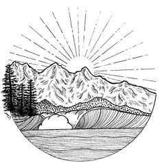 Sunset behind the mountains Actually I am waiting for some colors to be delivered to finish this one - - - #lavaterart #waveart #surfart #instasurf #art #artwork #waves #surfing #waveporn #oceanart #mountains #lineart #blackandwhite #iblackwork #blackwork #nature #sun #explore #artistsofinstagram #illustration #illustrationoftheday #artstagram #drawing #artoftheday #sketch_daily #sketchart #doodle #drawingoftheday #artofdrawingg #doodleart