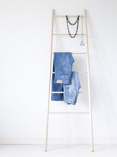 Tikas ladder by the Finnish Verso Design is a versatile and simplistic storage element made of solid birch. Tikas ladder is perfect for storing your favourite clothing, jewellery or towels. Wood Ladder, Ladder Decor, Pantry Storage, Bag Storage, Wooden Rack, Wood Sizes, Wardrobe Rack, Home Furnishings, Birch