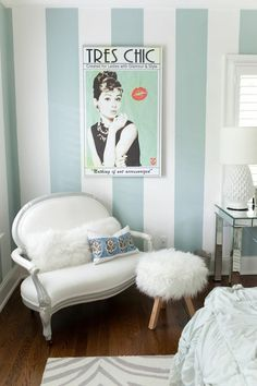 Pretty soft aqua striped wall & glam furnishings. Perfect for a teenage girl's Tiffany inspired room.