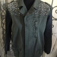 Cool jacket with embellishments...size is medium.. Cool cotton and viscose jacket with embellishments...zipper front with snap closure pockets... Also has 5 button front...great with jeans .... Forever 21 Jackets & Coats Utility Jackets