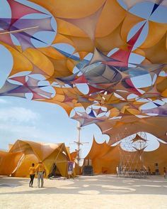 The camps themselves are works of art this is Sacred Spaces a legend out on the playa. #burningman #blackrockcity #festival