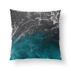 Wavy foamy blue black ombre sea water pillow by #PLdesign #sea #summer #ombre #mipic