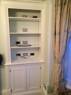 Bespoke alcove cupboard for audio-visual equipment Alcove Cupboards, Bespoke, Bookcase, Audio, Woodworking, Shelves, House, Design, Home Decor