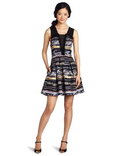 McGinn Women's Camille Jewel Dress. This McGinn dress has a fit-and-flare cut, chiffon shoulder straps, and a front ruffle with raw edges. Bust darts. Pleated skirt. Side-seam pockets. Fully lined in satin. Concealed back zipper. Sleeveless. $326.00  #Dress #McGinn