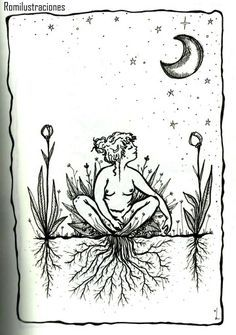 Witchy artwork of grounding or rooting to the earth Illustrations, Illustration Art, Sacred Feminine, Witch Art, Feminist Art, Renoir, Oeuvre D'art, Wicca, Art Inspo