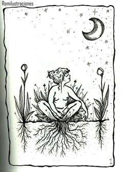 Witchy artwork of grounding or rooting to the earth Illustrations, Illustration Art, Sacred Feminine, Witch Art, Feminist Art, Renoir, Oeuvre D'art, Art Inspo, Body Art