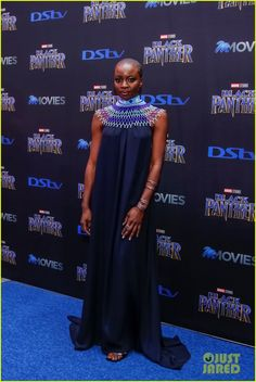 Lupita Nyong'o & Danai Gurira Premiere 'Black Panther' in South Africa: Photo Lupita Nyong'o and Danai Gurira looked stunning while bringing Black Panther to South Africa! The co-stars hit the red carpet at the premiere on Friday (February… African Attire, African Dress, African Clothes, African American Fashion, Bald Women, Black Panther Marvel, My Black Is Beautiful, African Design, Red Carpet Looks