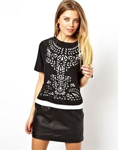 ASOS Top with Layered Laser Cut Panel