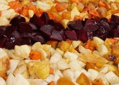 A spectacular array root vegetables are ready for the oven…