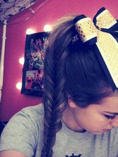 Cheer hair #fishtail Cheerleading Jumps, Cheer Stunts, Cheer Hair, Cheer Bows, Little Girl Hairstyles, Cute Hairstyles, Basketball Hairstyles, Kids Cheering, Cheer Makeup