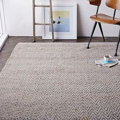 """Jute Chenille Herringbone Rug – Natural/Platinum, West Elm. From the description: """"Neutral ground. Classic herringbone stripes add subtle sophistication to the floor in durable, soft-to-the-touch chenille and jute—a highly sustainable, rapidly renewable resource and durable material."""" Several colors, very well priced. 8x10' $400."""