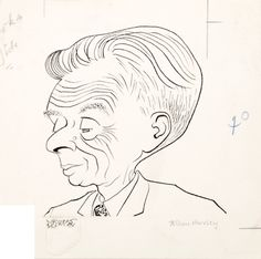 Aldous Huxley. Sheet size: 151 × 153 mm. Pen and ink on wove paper. Stamped on verso for publication in the Sunday Telegraph.