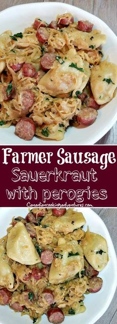 Farmer Sausage Skillet with Perogies Oh for the love of good European food!This Farmer Sausage Skillet is made with Perogies and sauerkraut can be made in under 30 minutes. The post Farmer Sausage Skillet with Perogies appeared first on Deutschland. Sausage Sauerkraut, Sauerkraut Recipes, Pierogi And Sausage Recipe, Sausage Dinner Recipes, Polish Sausage Recipes, Appetizer Recipes, Casserole Recipes, Pasta Recipes, Cooking Recipes
