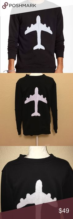 Plane Graphic Sweatshirt by Blood Brothers Black sweatshirt with white plane graphic by Blood Brothers. This is a men's medium but I bought it for myself for a longer fit sweatshirt w/ leggings. Trim fit. Great look and great condition. No fading, holes etc. Blood Brother Shirts Sweatshirts & Hoodies