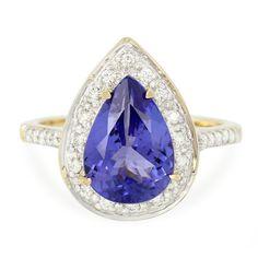 Bague pour femme sertie d'une Tanzanite AAA et de Diamants VS - Bijou en or 18K - Juwelo Bijouterie en Ligne