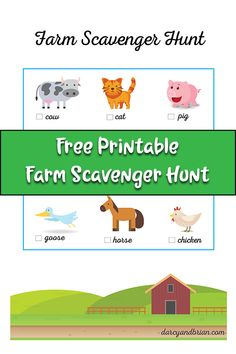 Free Printable Farm Scavenger Hunt for Kids Book Scavenger Hunt, Picture Scavenger Hunts, Outdoor Scavenger Hunts, Farm Games, Farm Activities, Fun Activities For Kids, Animal Activities, Farm Kids, Preschool Farm