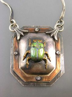 Beetle Necklace - by Nancy L T Hamilton - (bugs, insects, spider sparklies, jewelry)