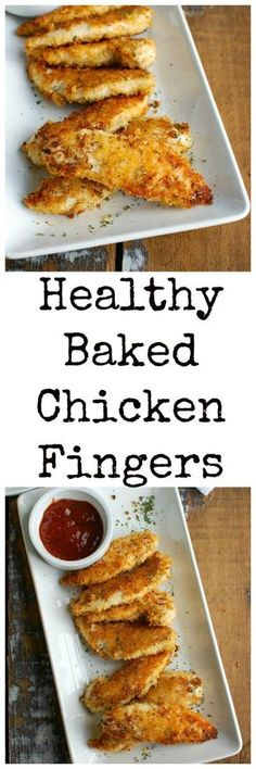 Healthy Baked Chicken Fingers are oven baked to create a healthier tender. The panko crust is crunchy and has good flavor from the spices. These are a kid and adult favorite! // A Cedar Spoon Recipes chicken Healthy Chicken Fingers Recipe - A Cedar Spoon Chicken Finger Recipes, Healthy Chicken Recipes, Easy Healthy Recipes, Healthy Snacks, Easy Meals, Recipe Chicken, Easy Chicken Tender Recipes, Chicken Tenderloin Recipes Healthy, Salad Chicken
