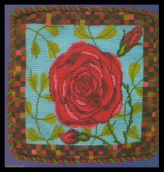"""MARY SELF DESIGNS FLORAL """"RED ROSES"""" & COLORFUL SQUARED BORDER NEEDLEPOINT KIT"""