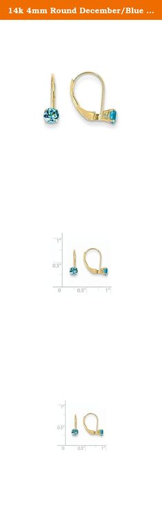14k 4mm Round December/Blue Topaz Leverback Earrings, Gem Ctw.0.66. Attributes Polished 14k Yellow gold Leverback Genuine Blue topaz Product Description Material: Primary - Purity:14K Stone Type 1:Swiss Blue Topaz Stone Color 1:Blue Stone Quantity 1:2 Length of Item:14 mm Stone Weight 1:0.330 ct Charm/Element Length:14 mm Charm/Element Width:4 mm Material: Primary:Gold Stone Shape 1:Round Stone Size 1:4.00 mm Stone Treatment 1:Irradiation Width of Item:4.5 mm Product Type:Jewelry Jewelry...