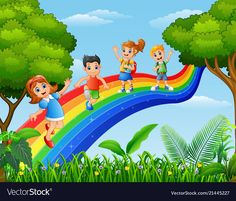 Happy kids standing over the rainbow vector image School Wall Decoration, School Decorations, Sea Murals, Paintings Tumblr, Line Art Vector, School Frame, School Murals, Kids Room Paint, Nursery Paintings