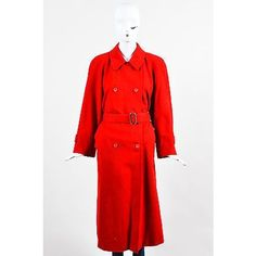 Pre-Owned Vintage Burberrys Red Wool Double Breasted Belted Long... ($235) ❤ liked on Polyvore featuring outerwear, coats, red, vintage trench coat, wool coat, vintage coat, belted wool coat and double-breasted trench coat