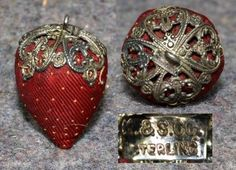 sewing emery strawberry sterling silver antique silk chatelaine pincushion K&S Sewing Box, Sewing Tools, Sewing Crafts, Vintage Sewing Notions, Vintage Sewing Machines, Embroidery Tools, Sewing Baskets, Needle Book, Vintage Purses