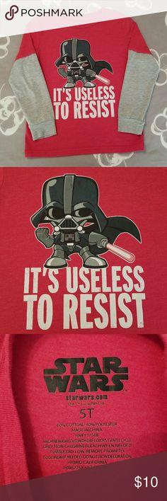 Boys Star Wars Long Sleeved Shirt Red T Shirt with grey long sleeves. Darth Vader Star Wars shirt. Star Wars Shirts & Tops Tees - Long Sleeve