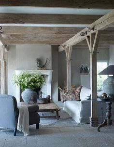 Modern Country Style: Belgian Style Living Room Click through for details. Casa Wabi, Living Room Decor, Living Spaces, Living Rooms, Cosy Cottage Living Room, Cottage Nursery, Family Rooms, Modern Country Style, Country Chic