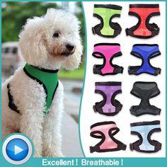 13 colores Suave Ajustable Transpirable Arnés Del Perro de Malla Chaleco Arnés de Nylon para Perros Mascotas Collar de Mascotas Correa Correa del Pecho