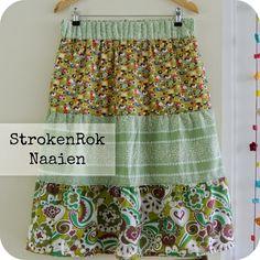 PatroonVariatie: van Lange Rok naar StrokenRok       Een tijdje geleden zag je in dit Patroon  om zelf een Lange Rok te naaien. Heel eenvoud...
