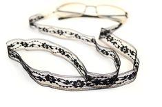 Black Eyeglasses Lanyards Black Lace Lanyard by OxyFineCrafts