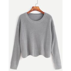 SheIn(sheinside) Pale Grey Drop Shoulder Seam Wave Hem Sweater ($18) ❤ liked on Polyvore featuring tops, sweaters, grey, pullover sweaters, gray sweater, light grey sweater, gray pullover sweater and grey long sleeve sweater