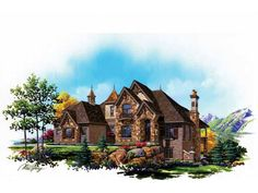 Dream home!!! Eplans French Country House Plan - Luxury European Old World Two Story - 4219 Square Feet and 4 Bedrooms from Eplans - House Plan Code HWEPL75125